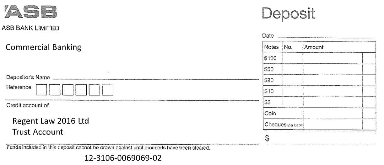 Trust Account Deposit Slip